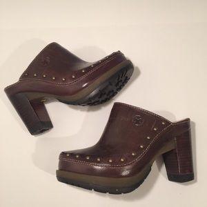 DR Martens brown leather platform heeled mules 5